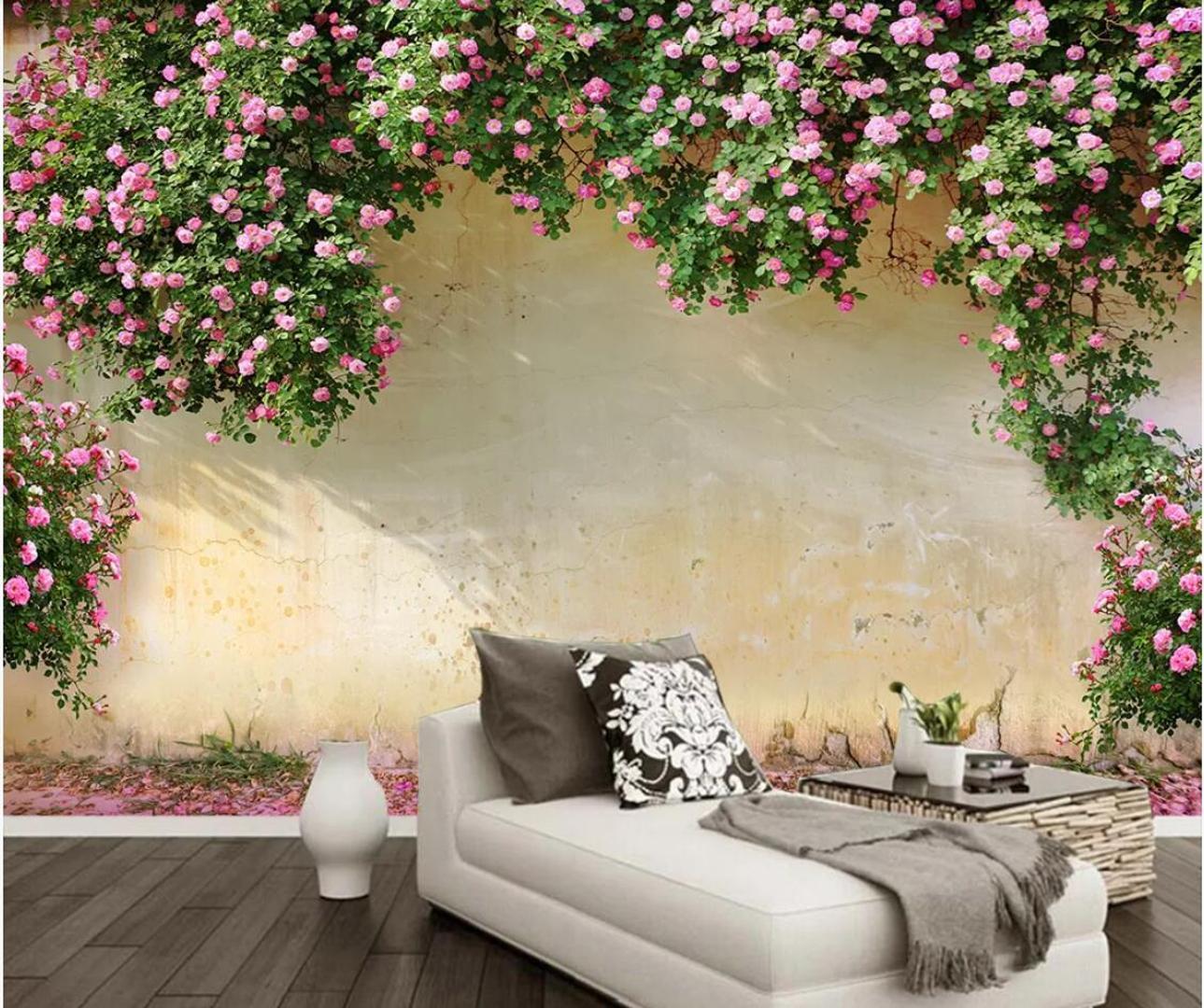3d جدارية خلفية روز خلفية جدار ديكور غرفة المعيشة التلفزيون خلفية الكوفيرينج للجدران 3 د زهرة الجداريات