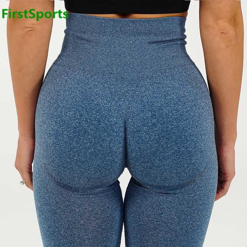 Nuevas polainas deportivas sin costuras para mujeres gimnasio Yoga pantalones de cintura alta a prueba de cuclillas Control de barriga Fitness entrenamiento medias BuBooty
