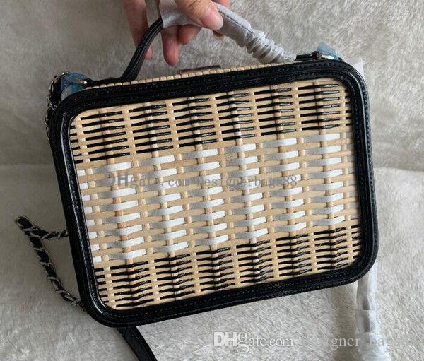 2019 nuevos bolsos de bambú Top armadura de la rota la caja monedero del cuero genuino cosmética bolsos Flap cadena de la bolsa de mensajero bolsas de hombro