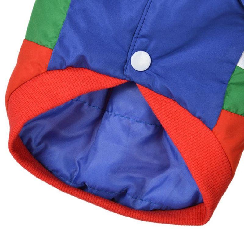 XS / S / M / L / XL Pet-Automne et patchés Couleur vêtements d'hiver coton rembourré Manteau chaud Veste Épaississement