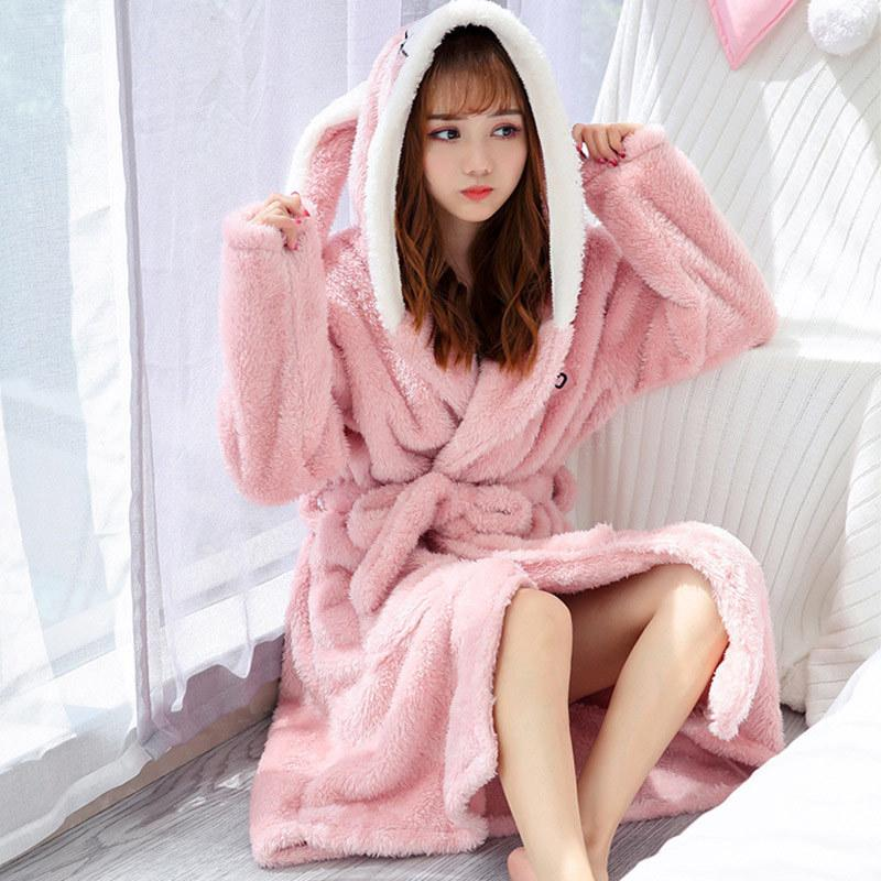 Women's Winter Coral Velvet Bathrobe Cute Cartoon Warm Hooded Robe Ladies Casual Rabbit Flannel Kimono Dressing Gowns for Women T200420