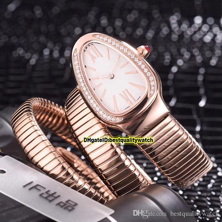Günstige Luxry New Serpenti Tubogas 101911 SP35C6SS.2T weißen Zifferblatt Roségold Schweizer Quarz Damenuhren Armband-Uhr-Qualität
