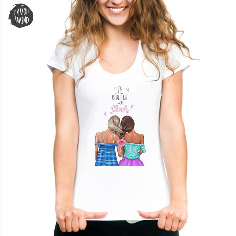 La vie est-shirts mieux avec des amis pour les femmes T Camisas Mujer Nouvelle arrivée 2019 coréenne T-shirt Harajuku Top Streetwear