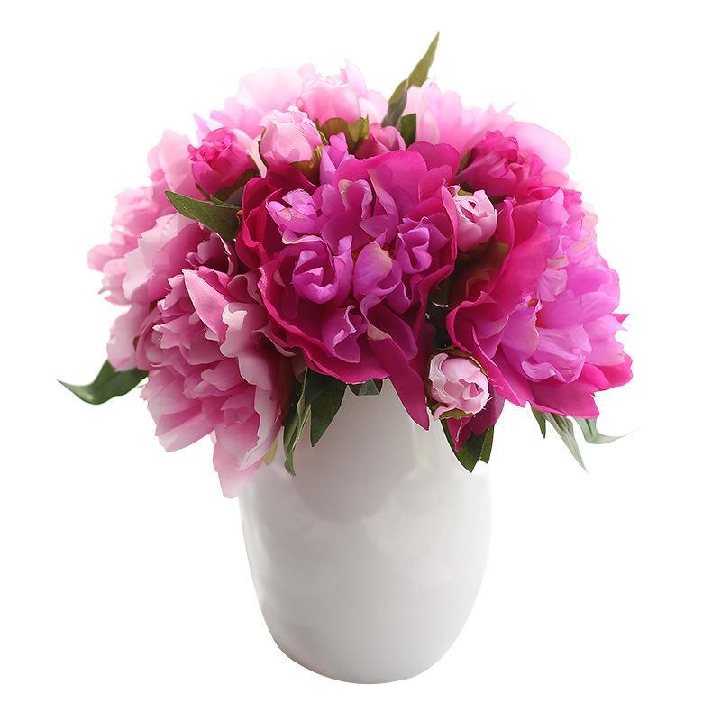 2019 موضة جديدة 6 رؤساء الفاوانيا باقة اليدوية الزهور الاصطناعية الزفاف ديكورات العروسة باقة زهور الزفاف
