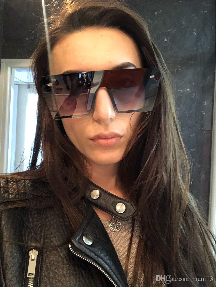 Gafas de sol sin montura de gran tamaño gafas de sol de gradiente cuadradas de las mujeres 2019 famosa marca Flat Top Mirror UV400 gafas sin marco