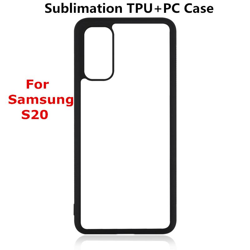 Wholesale Sublimation Blank TPU+PC Phone Case for Samsung S20 S20 Plus S20 Ultra Note 10 A10 A20 with alu board DIY rubber case