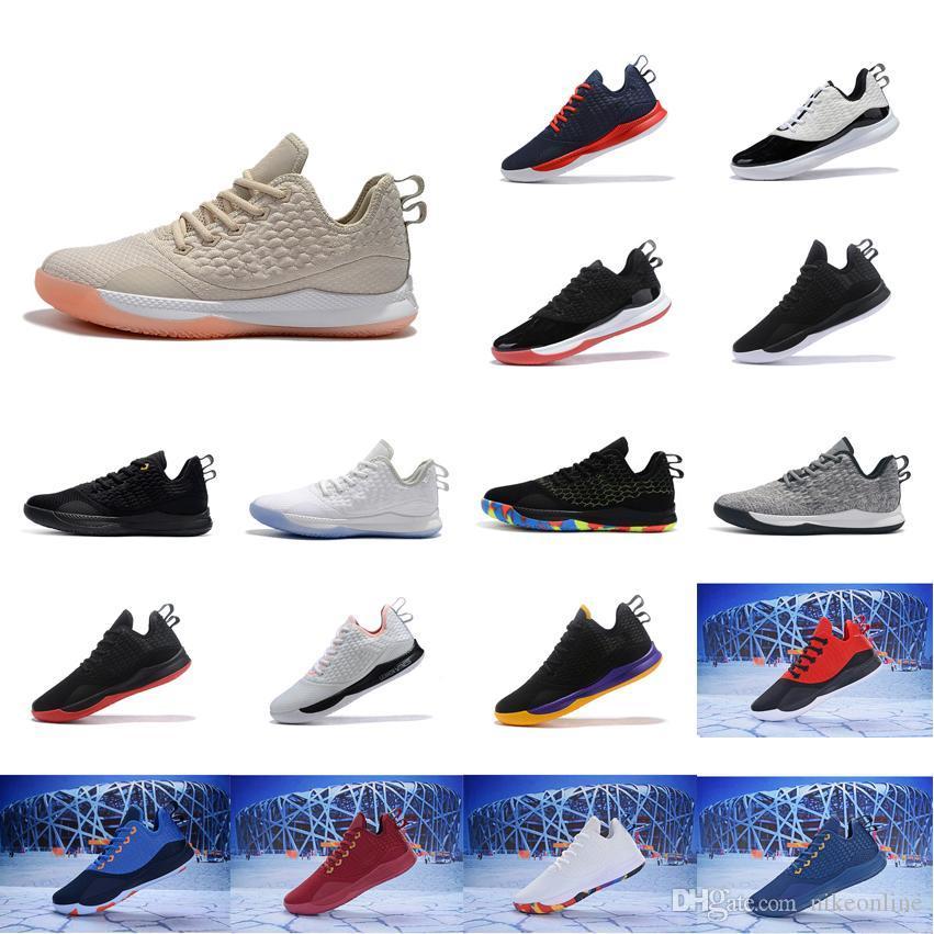 Economici lebron testimone 3 scarpe da basket da vendere Beige Nero Oro Bianco Rosso Grigio bambini giovanili lebrons iii scarpe da tennis con la dimensione casella 7 12