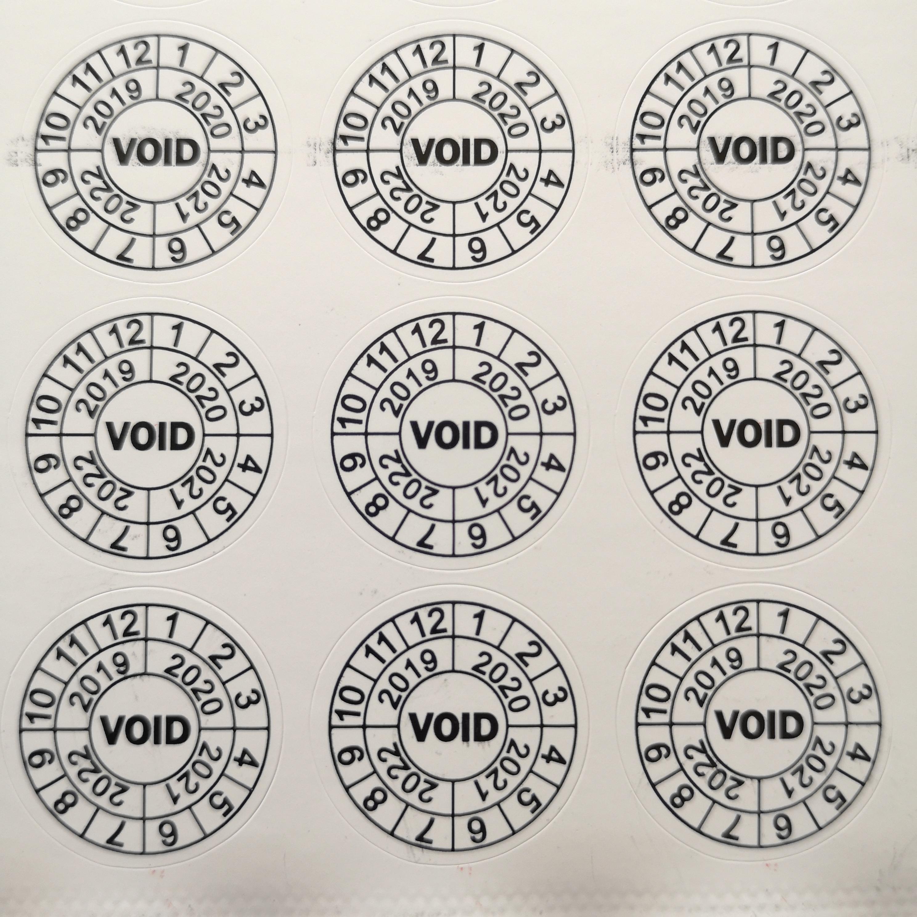 Garantía diámetro pcs 20mm 1000 VOID damageable etiqueta autoadhesiva de papel para el período de mantenimiento del producto, Artículo Nº V02