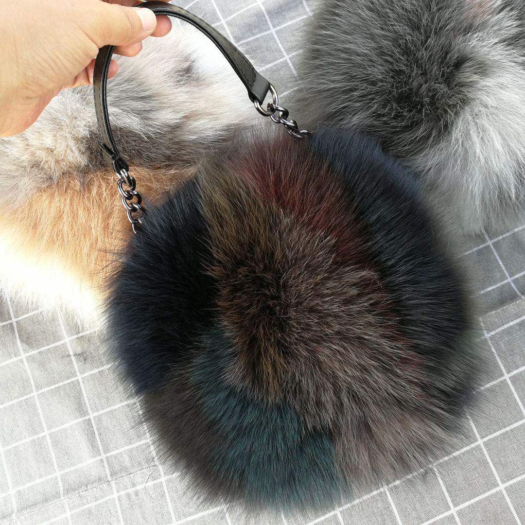Automne Hiver 2020 New Fox Sac fourrure porte-petit sac rond Pompon Fourrure véritable sac à main circulaire Hairball Sacs à bandoulière Crossbody