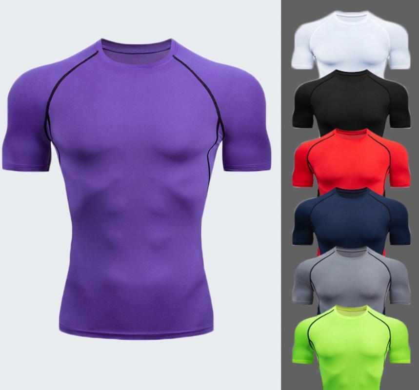 Herren Bewegung Sport Short Sleeve Fitness T-Shirt Solid Color elastische Kraft Schnell trocknend Basketball Rendering-T-Shirt