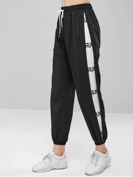 Compre Zada Drawstring Pantalon Jogging Grafico Negro 2019 Nueva Moda Mujer Adulta A 18 28 Del Mark860608671 Dhgate Com