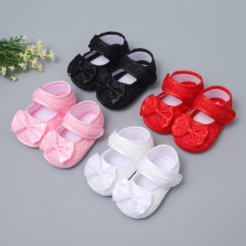 Baby Girl Shoes Ribbon Bow First Walkers Princess Baby Shoes Lace Rose Flowers Bow Newborn Soft Anti-slip for Infant Girls New