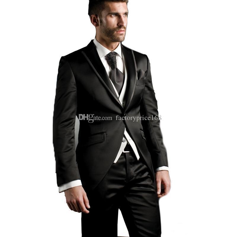 Şık Bir Düğme Groomsmen Tepe Yaka Damat smokin Erkekler Suits Düğün / Gelinlik / Akşam Sağdıç Blazer (Ceket + Pantolon + Kravat + Yelek) AA209