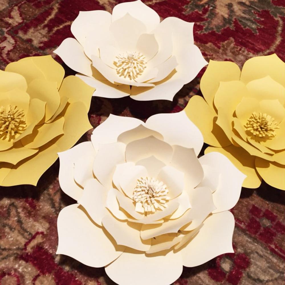 2pcs 20CM bricolage Fleurs en papier Fleurs artificielles Toile de fond décoratif Faveurs de mariage Enfants de fête d'anniversaire de l'événement Accueil Chambre Décoration