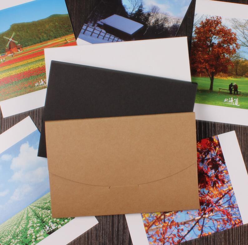 Qi 50pcs/lot Size:16*10.5*0.5cm Blank Black White Kraft Paper Envelope Postcards Greeting Card Cover Photo Favor Packaging Boxes