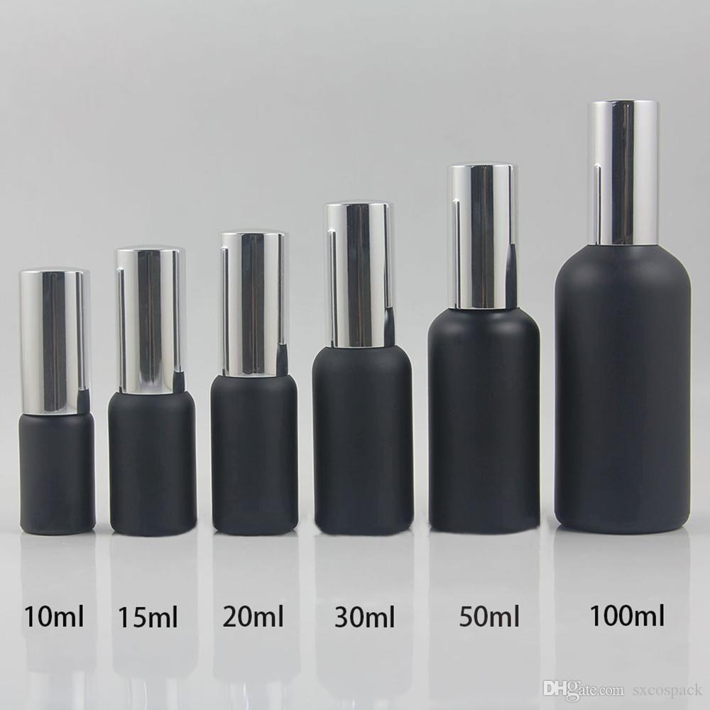 10 ml uçucu yağ sprey şişesi mavi ve losyon pompası siyah cam şişe, 100pcs taşınabilir doldurulabilir şişe seyahati 10 mi