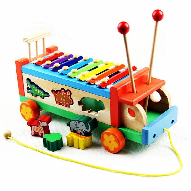 الشحن مجانا خشبية الموسيقى سحب كتل سيارة لعبة أطفال الكرتون كتلة إكسيليفون الطفل الخشب drawable سيارة الضوضاء صانع لعبة الهدايا J190525