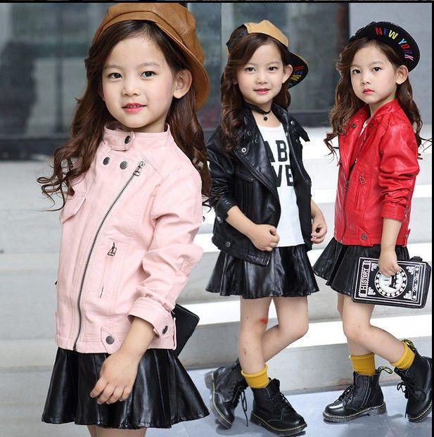 NEW Kids Jackets Coats Leather zipper Motorcycle Cool Baby Boys Biker Outerwear