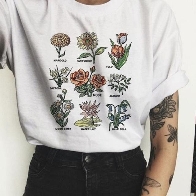 2019 Flower Round Neck Solid Color Printing T Shirt Short Sleeve Clothes Woman Rendering Shirt Man