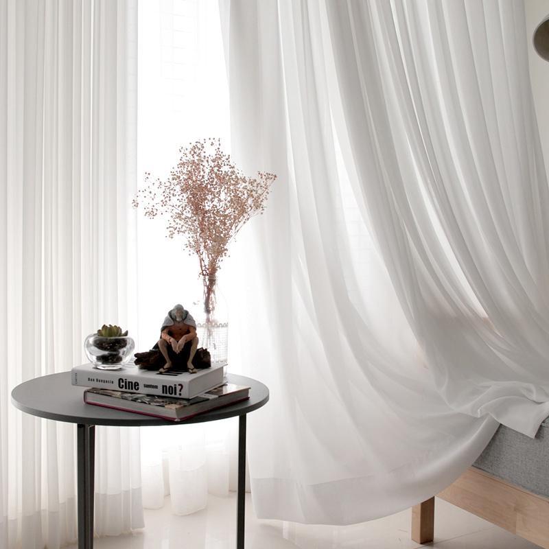 الأبيض تول الستائر لغرفة المعيشة الديكور الشيفون الحديثة الصلبة شير الفوال الستار مطبخ المنزل الديكور