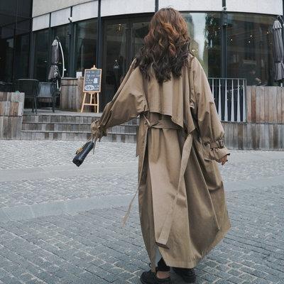 3oIu5 2020 coupe-vent de l'automne femmes nouveau mi-longueur tranchée irrégulière coupe-vent manteau lâche trench-coat taille lacets couleur unie printemps