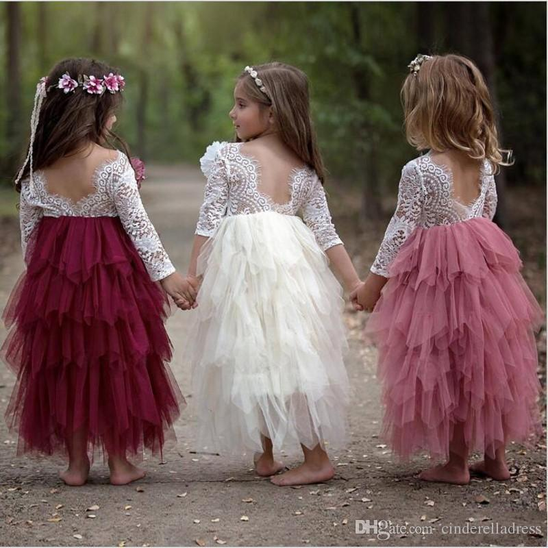 2019 Bohemian Lace Tutu Flower Girl Dresses Sheer Long Sleeves Short Kids Birthday Communion Dress Summer Beach Boho Party Gowns MC1680
