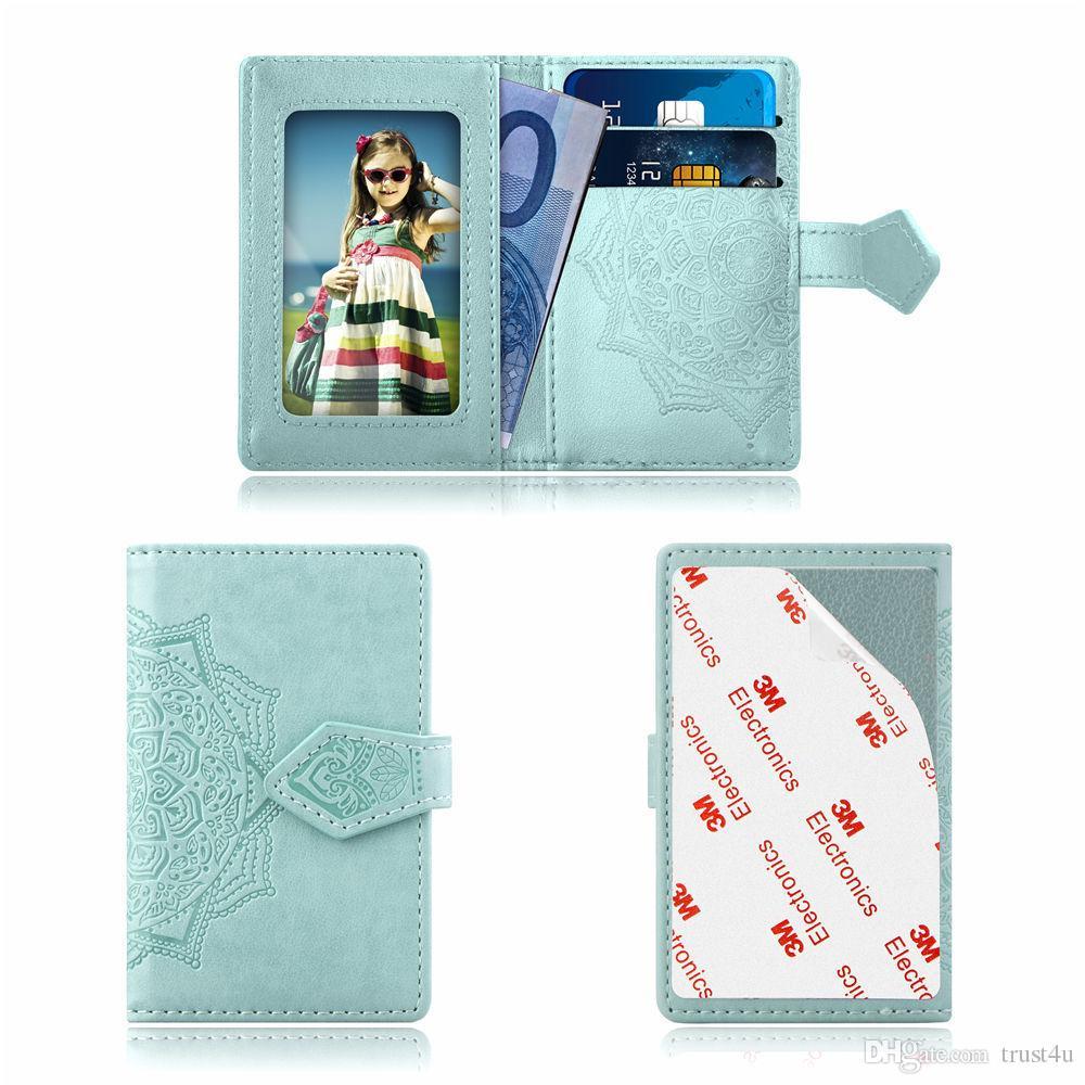 Pelle Stick universale Indietro Phone Card Slot 3M adesivo sulla identificazione del raccoglitore del supporto dei contanti carta di credito per iPhone XS MAX XR X Note9 Caso Datura Fiore