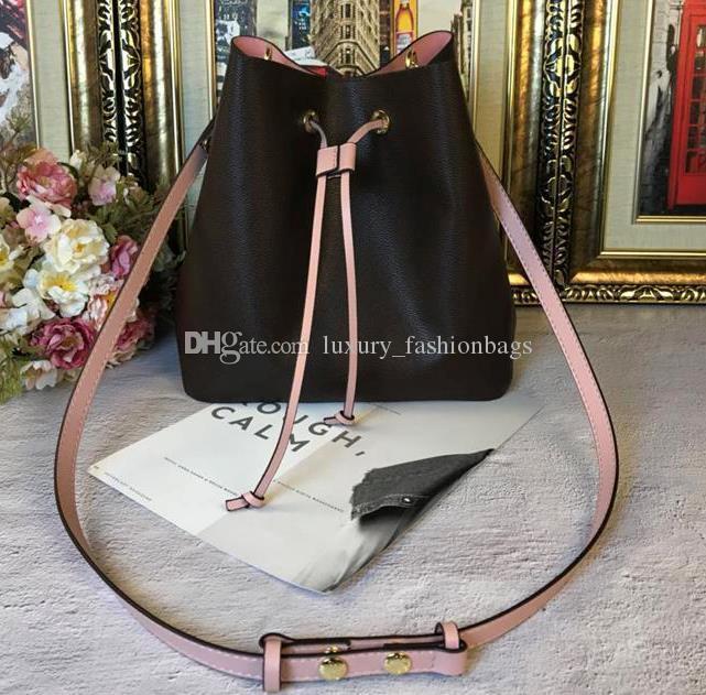 qualità delle donne di moda in vera pelle secchio borsa Hight famosa flower designer coulisse borse stampa purse2019 crossbody