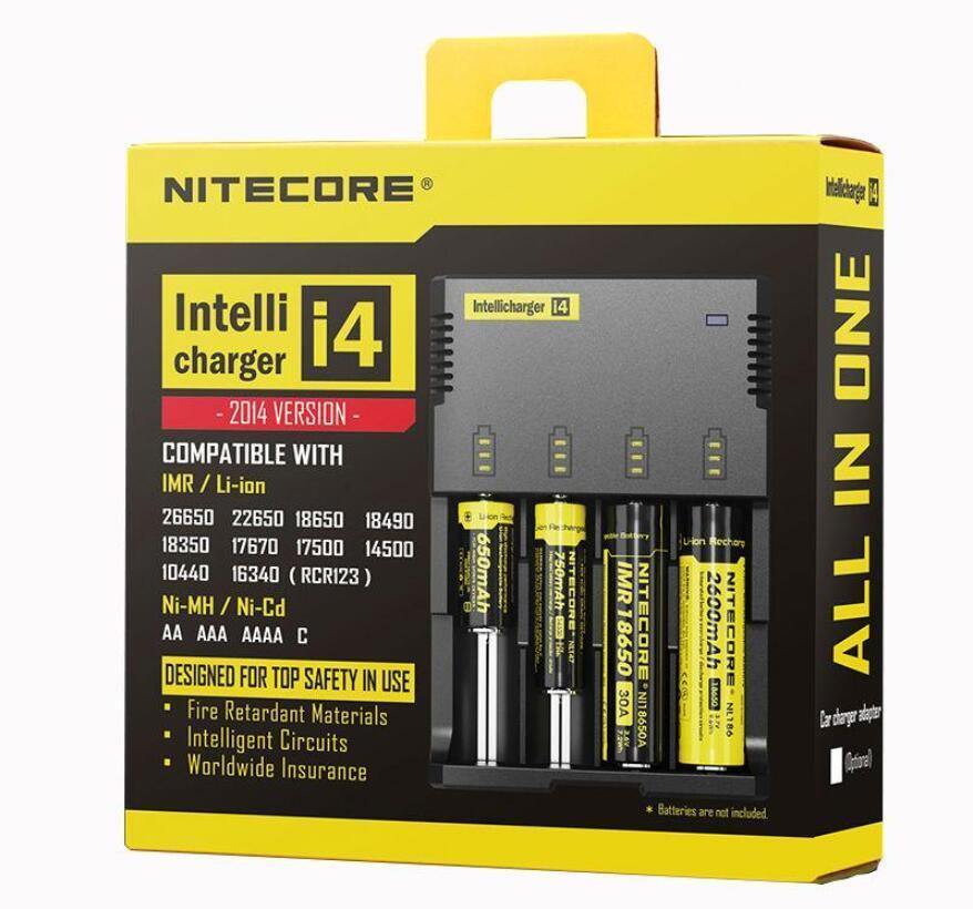 الأصلي Nitecore I4 العالمي شاحن ه سغس cigaretters الإلكترونية شاحن بطارية ل 18650 18500 26650 I2 D2 D4