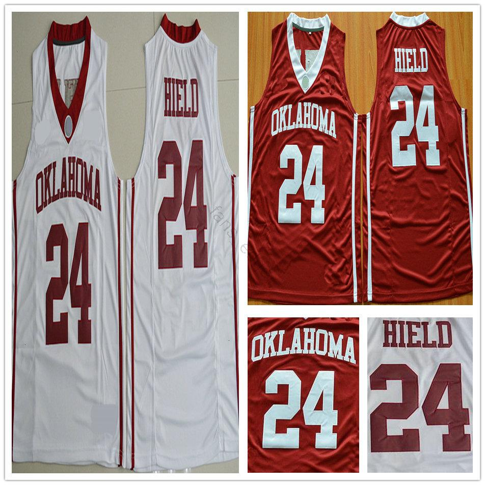 NCAA Sooners University Basketball 24 Buddy Heild Jersey Home Red White Color Stitched College Mens Buddy Heild Jerseys