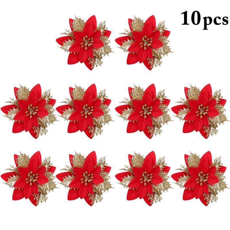 10шт искусственные цветы для украшения блеск Poinsettia поддельные цветы DIY Рождественская елка Главная свадебные украшения цветок головы
