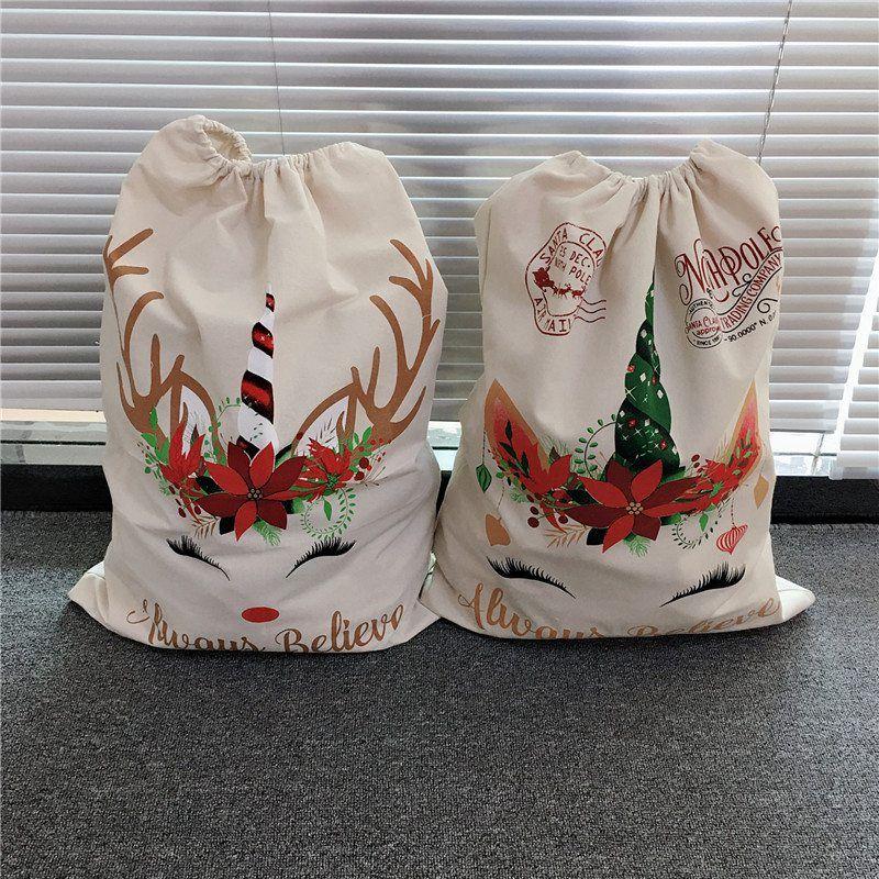 حقيبة عيد الميلاد كبيرة قماش الحلوى حقيبة للأطفال أكياس سانتا كلوز يونيكورن أحمر أخضر اللون أكياس الرباط 08