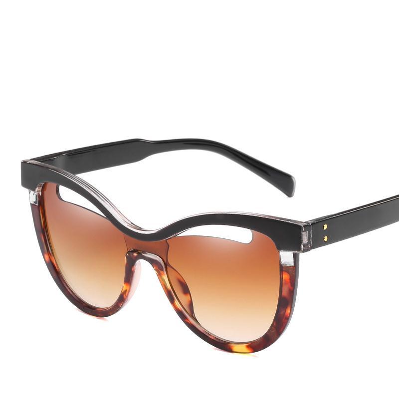 Personalidade Cat Eye óculos de sol Metros prego Decoração Half Hollow Out Transparente Pedaço Oceano Sunglasses