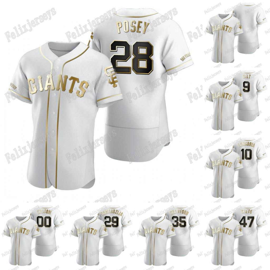 28Posey 2020 Golden Edition White 47 Johnny Cueto Crawford 29 Jeff Samardzija Evan Longoria Brandon Belt Baseball Jersey