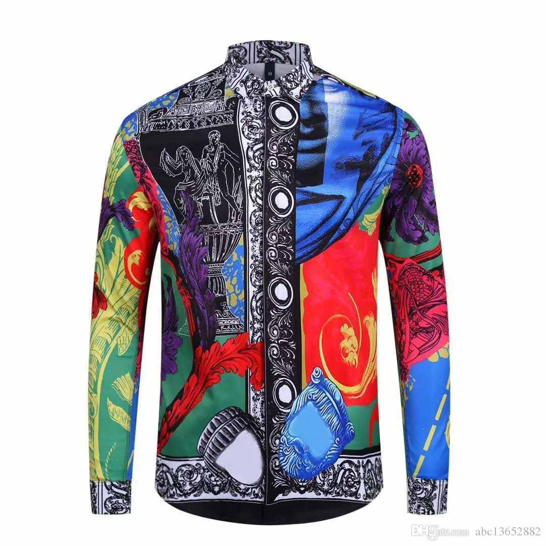 2019ss Brand New wave Fashion luxury men shirt designer 3D Floral Print long sleeve mens medusa Slim Fit Shirts