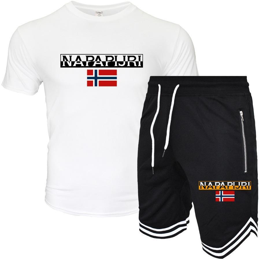 디자이너 여름면 힙합 세트 남자 짧은 소매 T 셔츠와 반바지 패션 브랜드 그래픽 고품질 운동복 남성