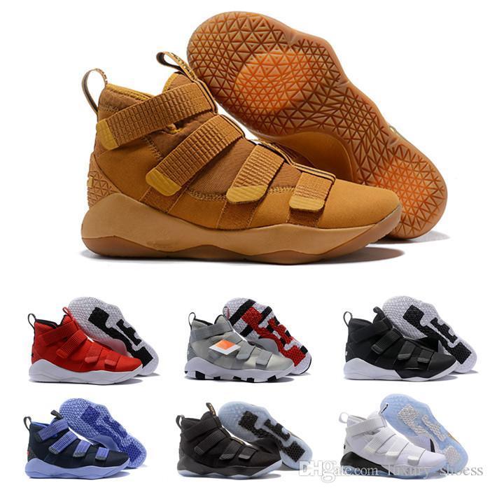 2019 yeni James Asker XI 11 Lacivert erkekler Basketbol Ayakkabıları LeBron Siyah Beyaz Spor Sneakers Boyut ABD 7-12
