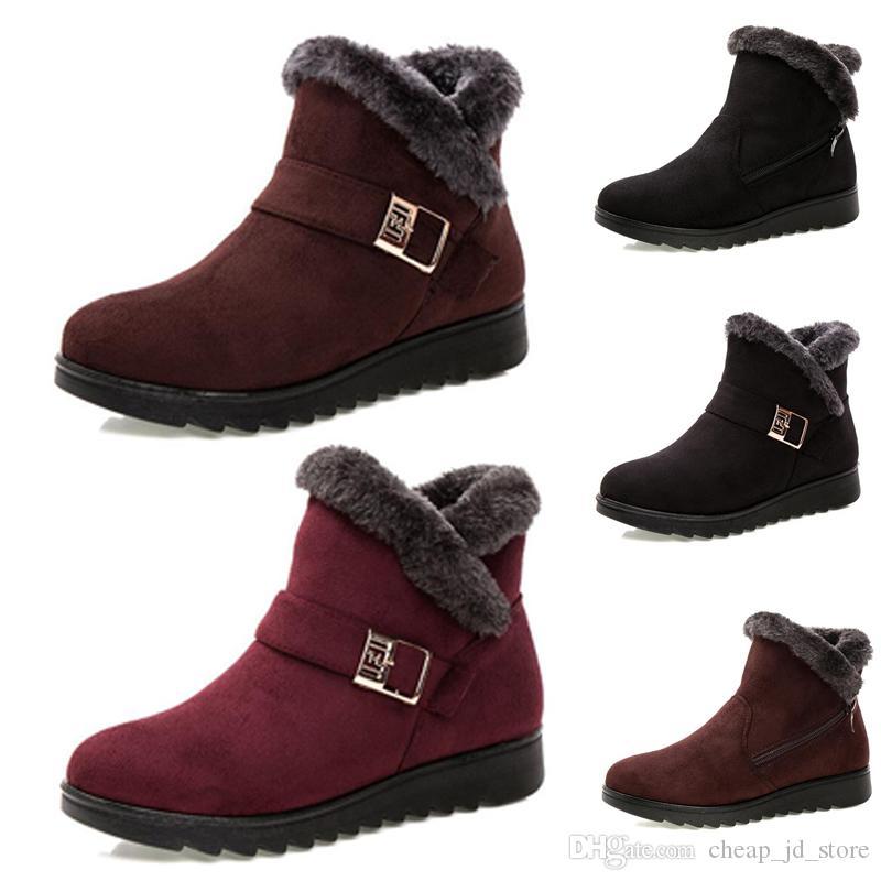 donne di inverno non modo di marca stivali Triple Nero Marrone camoscio rosso stivali neve caviglia Scarpe femmina tenere in caldo 35-40 Stile 13 il trasporto libero