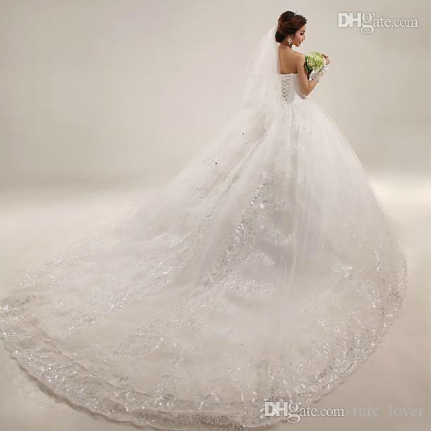 Novo vestido de baile de luxo vestidos de casamento inchado branco applique miçangas catherdarl treinar plissado Árabe de vestidos nupciais organza