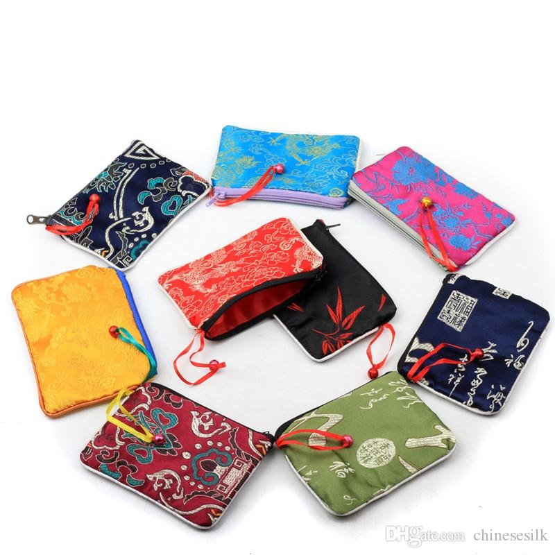 Various Colours Embroidered Satin Zip Up Coin Makeup Bag Purse Gift Bag