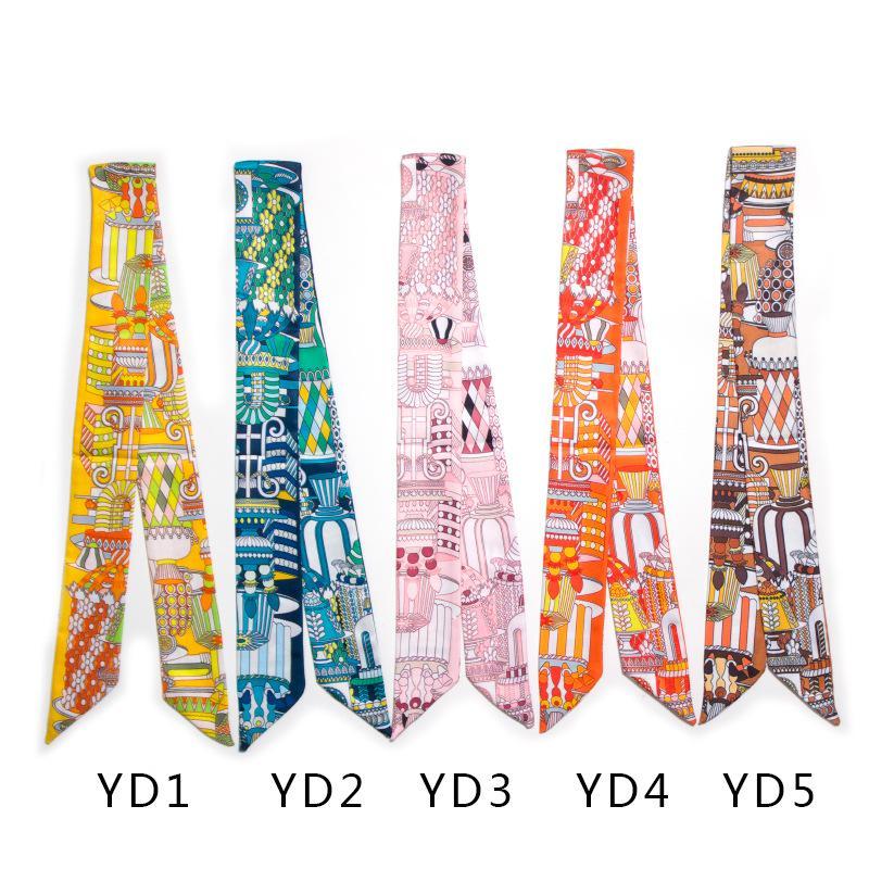 Multifunctional Colorful Hand Bag Scarves Magic Silk Hair Hat Scarf Mixed Color Women Print Headband Handle Bag Ribbon Long Scarves & Wraps