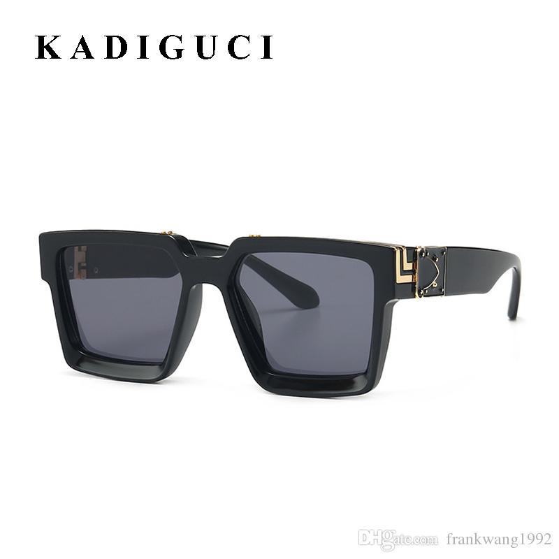 Estilo KADIGUCI Nueva verano chapado en oro Top Gafas de sol retro Hombres Mujeres UV400 Gafas de sol con estilo Sombras Plaza K371
