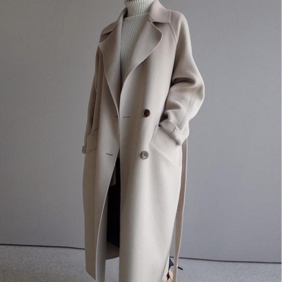 Katı Gevşek Kadınlar Uzun Cashmer Ceket Moda Rahat Sıcak kadın Yün Ceket Kruvaze Beyaz Ceket ve Ceket