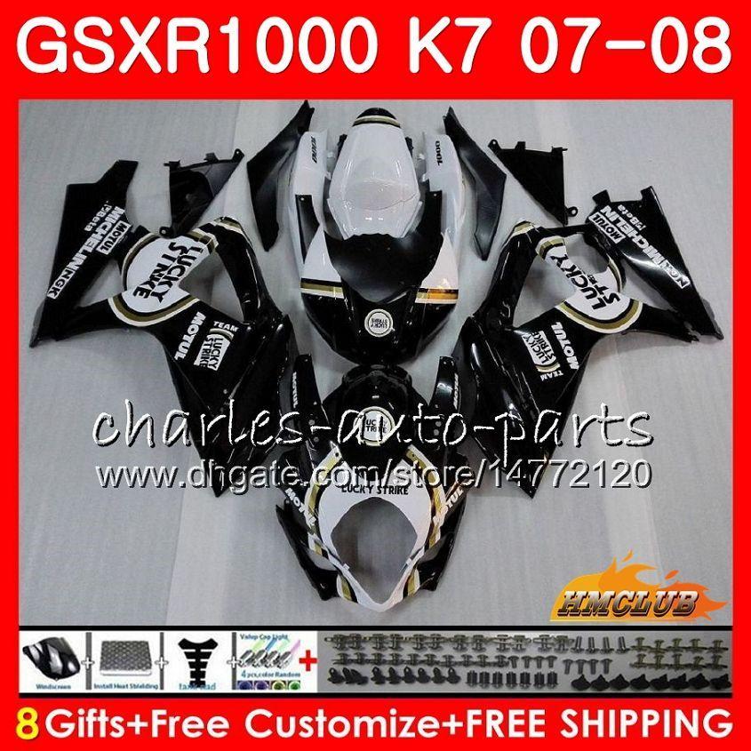 Carrosserie voor Suzuki GSXR-1000 GSXR1000 Lucky Black Hot 2007 2008 07 08 Bodys 12HC.6 GSX R1000 GSX-R1000 K7 GSXR 1000 07 08 ABS-kachelset