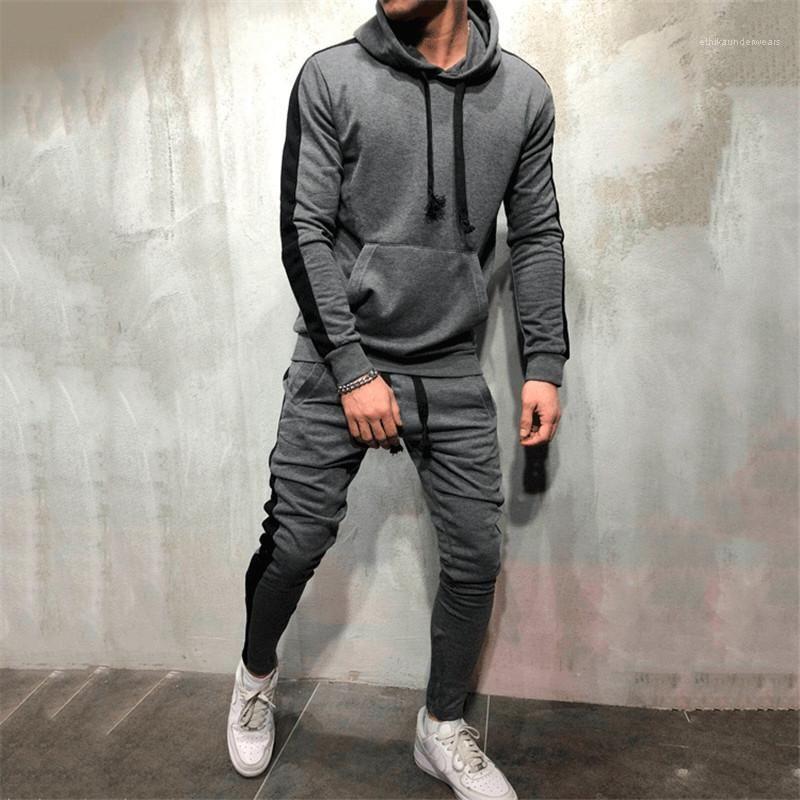 Long Sleeve Mens 2PCS Sets Solid Color Slim Pencil Pants Suits Striped Designer Mens Tracksuits Patchwork Color