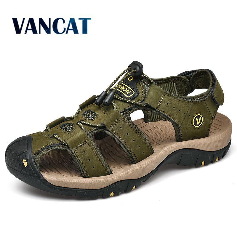 Nueva zapatos de cuero genuino los zapatos de los hombres las sandalias del verano de los hombres causales playa sandalias hombre de la manera informal al aire libre las zapatillas de deporte Tamaño 38-48