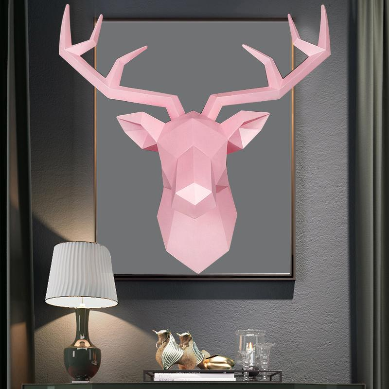 3D Deer Head Statue Decor Abstract Sculpture Home Decoration Accessories 50x49x20cm Living Room Wall Big Elk Statues Decorations T200619