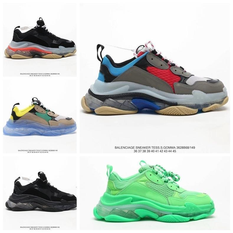 2020 Fashion Paris 17fw Triple S Sneaker to'ptop Souliers simples de papa pour les hommes '; S Femmes Beige Noir Ceahp Sport Designer Shoe