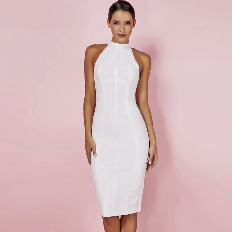 Frauen-Kleider-Verband-Kleid Sexy Frauen Weiß 2019 neue Ankunfts-gestreifter Halter Midi figurbetontes Kleid Qualitäts-Verband Rayon-Kleid
