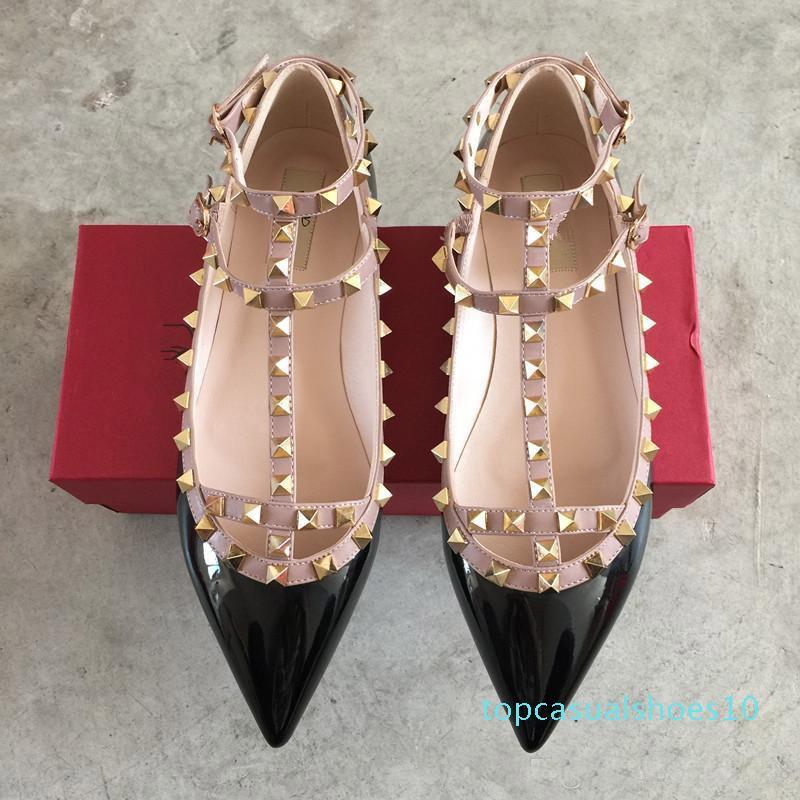 Brand Women Pumps Wedding Shoes Woman Flat Nude Fashion Ankle Straps Rivets Shoes Sexy Flat Sandals Bridal Shoes Size 34-43 t10